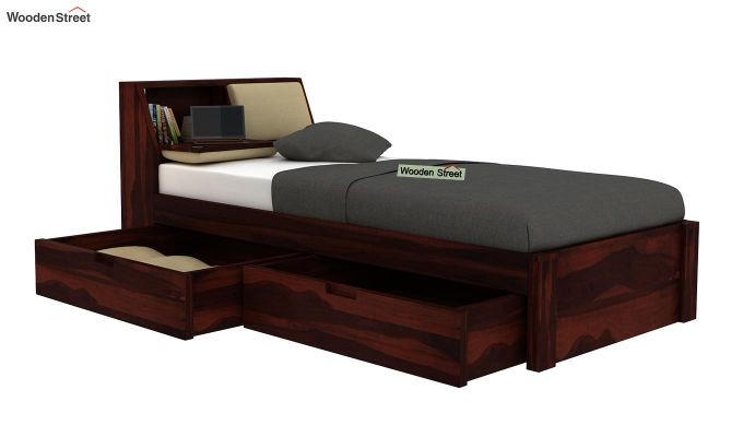 Walken Single Bed With Storage (Walnut Finish)-4