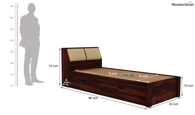 Walken Single Bed With Storage (Walnut Finish)-8