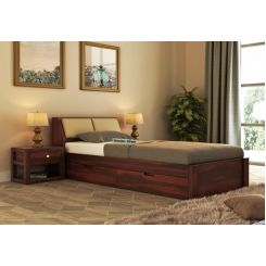 Walken Single Bed With Storage (Walnut Finish)