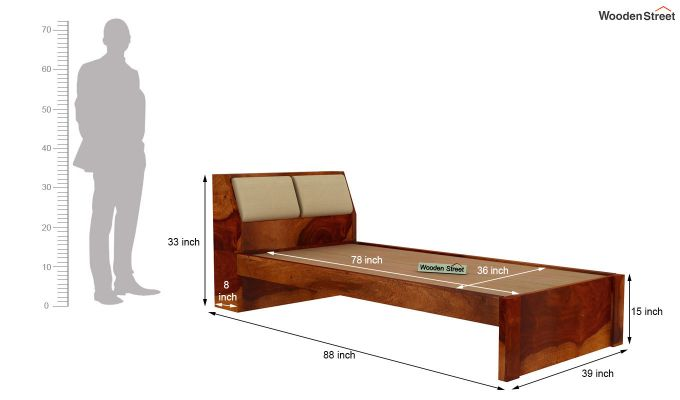 Walken Single Bed Without Storage (Honey Finish)-7