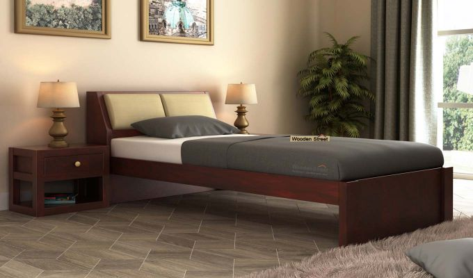 Walken Single Bed Without Storage (Mahogany Finish)-1