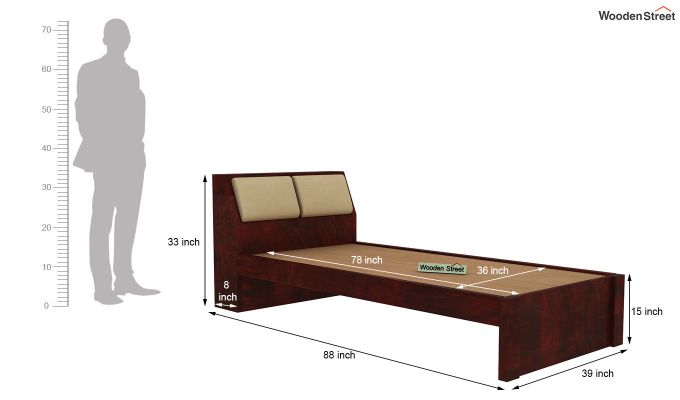 Walken Single Bed Without Storage (Mahogany Finish)-7