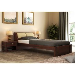 Walken Single Bed Without Storage (Walnut Finish)