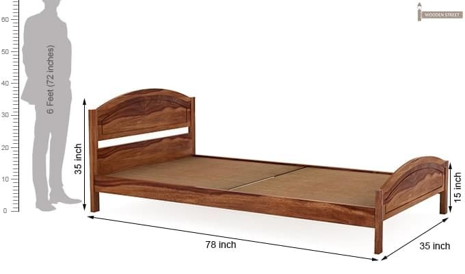 Zoey Single Bed (Teak Finish)-6