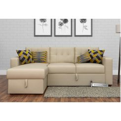 Alfonso Left Arm Convertible Sofa Cum Bed (Fabric, Cream)