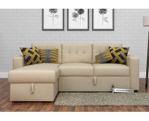 Alfonso Left Arm Convertible Sofa Cum Bed (Fabric, Cream)