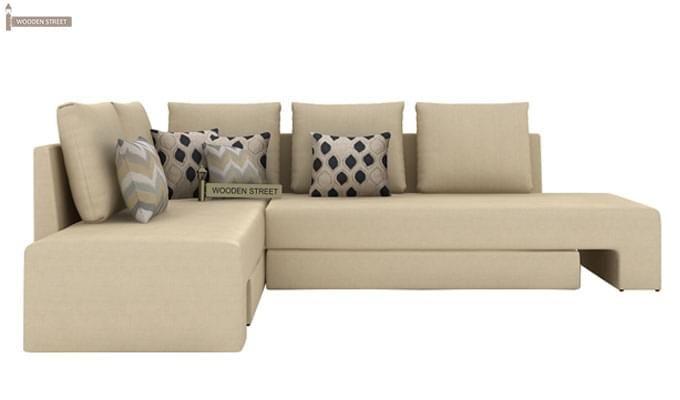 Mckellen L Shape Left Arm Corner Sofa Cum Bed (Ivory)-2