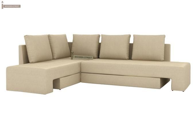 Mckellen L Shape Left Arm Corner Sofa Cum Bed (Ivory)-4