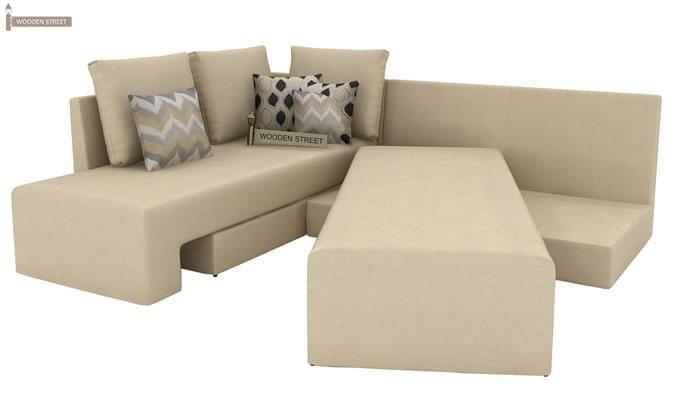 Mckellen L Shape Left Arm Corner Sofa Cum Bed (Ivory)-5