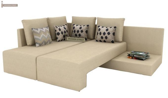 Mckellen L Shape Left Arm Corner Sofa Cum Bed (Ivory)-7