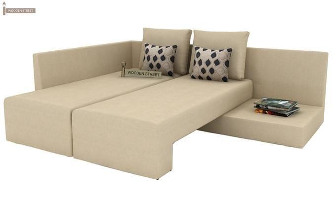 Mckellen L Shape Left Arm Corner Sofa Cum Bed (Ivory)-8