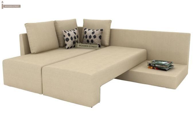 Mckellen L Shape Left Arm Corner Sofa Cum Bed (Ivory)-9