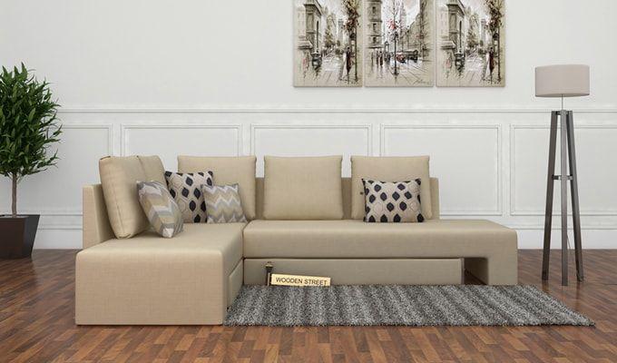 Mckellen L Shape Left Arm Corner Sofa Cum Bed (Ivory)-1