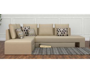 Mckellen L Shape Left Arm Corner Sofa Cum Bed (Ivory)