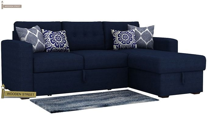 Alfonso Right Arm Convertible Sofa Cum Bed (Fabric, Blue)-2
