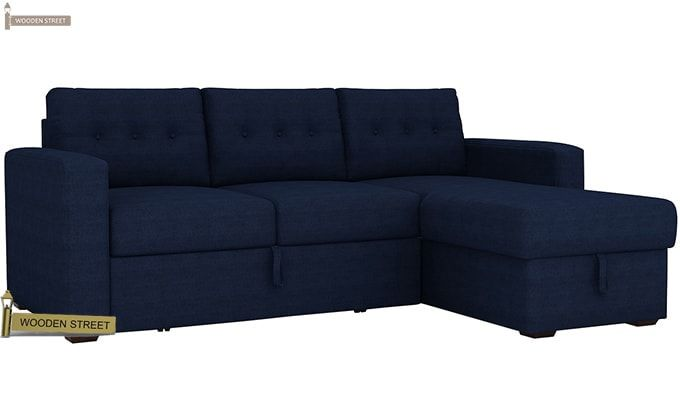 Alfonso Right Arm Convertible Sofa Cum Bed (Fabric, Blue)-3