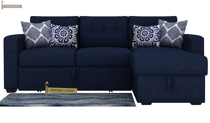 Alfonso Right Arm Convertible Sofa Cum Bed (Fabric, Blue)-4