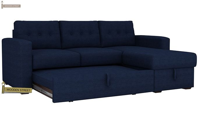 Alfonso Right Arm Convertible Sofa Cum Bed (Fabric, Blue)-6