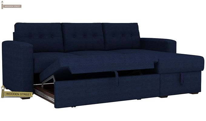 Alfonso Right Arm Convertible Sofa Cum Bed (Fabric, Blue)-7