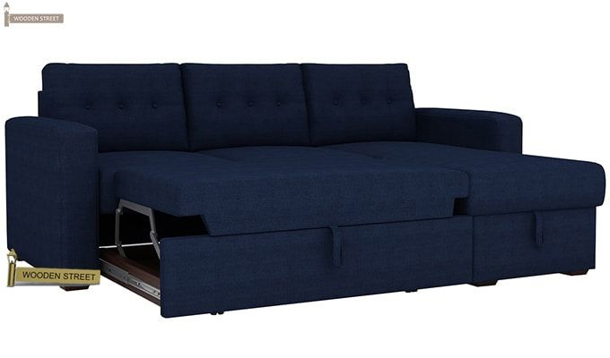 Alfonso Right Arm Convertible Sofa Cum Bed (Fabric, Blue)-8