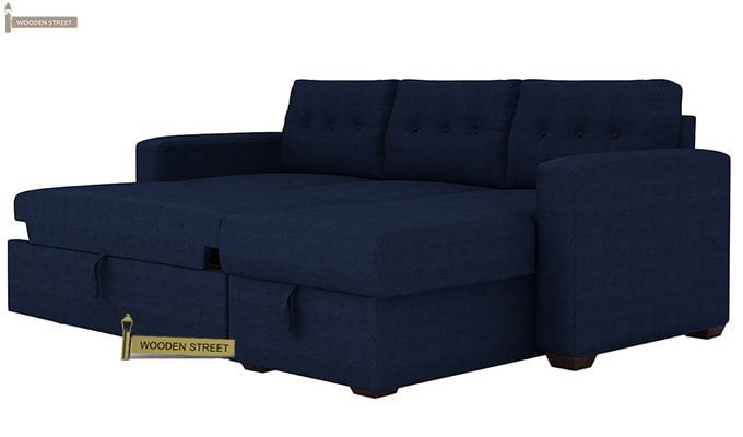 Alfonso Right Arm Convertible Sofa Cum Bed (Fabric, Blue)-9