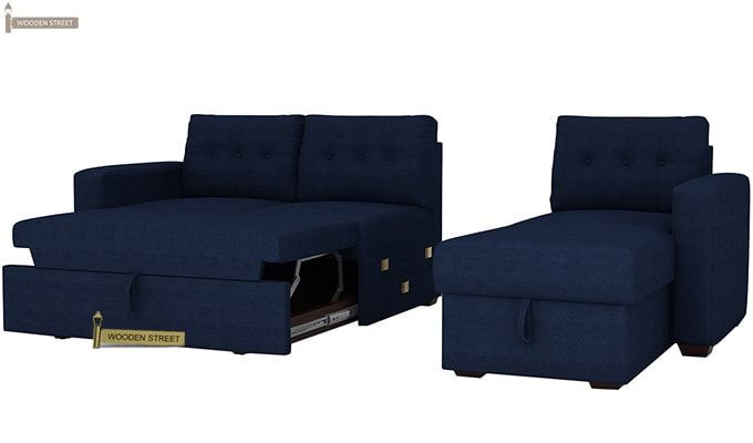 Alfonso Right Arm Convertible Sofa Cum Bed (Fabric, Blue)-10