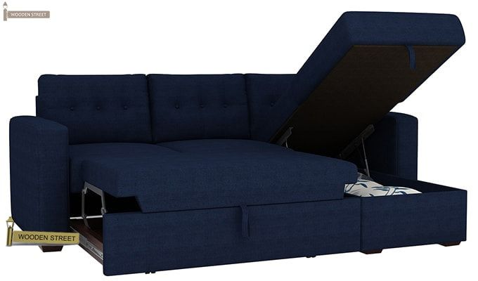 Alfonso Right Arm Convertible Sofa Cum Bed (Fabric, Blue)-11