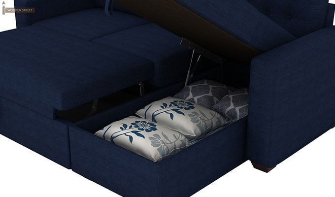 Alfonso Right Arm Convertible Sofa Cum Bed (Fabric, Blue)-12