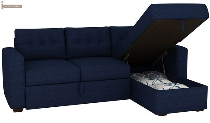 Alfonso Right Arm Convertible Sofa Cum Bed (Fabric, Blue)-13
