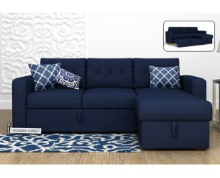 Alfonso Right Arm Convertible Sofa Cum Bed (Fabric, Blue)