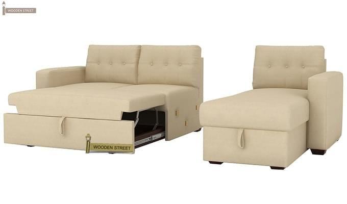 Alfonso Right Arm Convertible Sofa Cum Bed (Fabric, Cream)-10