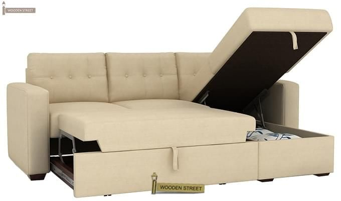 Alfonso Right Arm Convertible Sofa Cum Bed (Fabric, Cream)-11