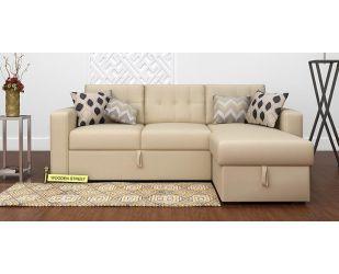 Alfonso Right Arm Convertible Sofa Cum Bed (Fabric, Cream)