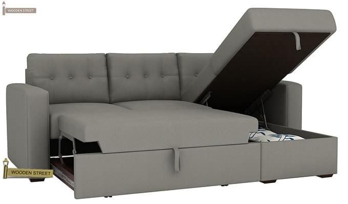 Alfonso Right Arm Convertible Sofa Cum Bed (Fabric, Grey)-11