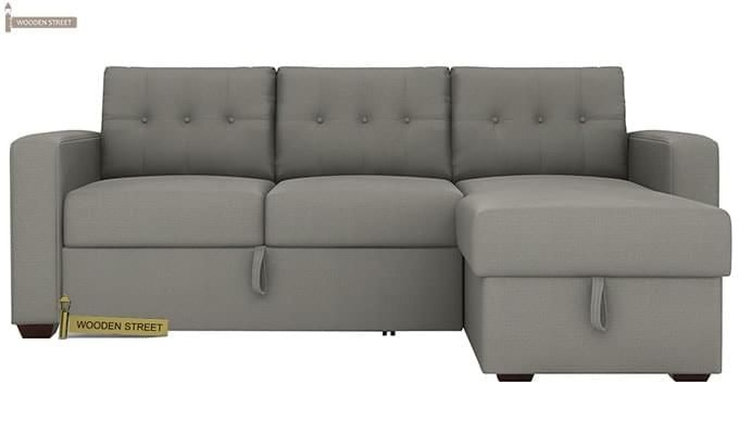 Alfonso Right Arm Convertible Sofa Cum Bed (Fabric, Grey)-5