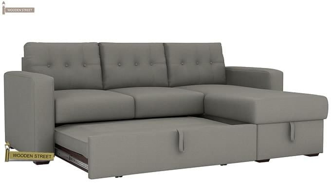 Alfonso Right Arm Convertible Sofa Cum Bed (Fabric, Grey)-6