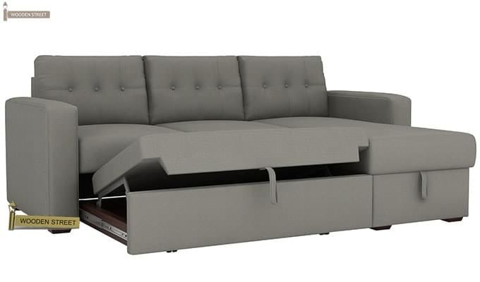 Alfonso Right Arm Convertible Sofa Cum Bed (Fabric, Grey)-7