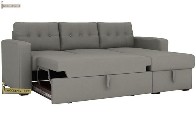 Alfonso Right Arm Convertible Sofa Cum Bed (Fabric, Grey)-8