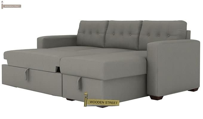 Alfonso Right Arm Convertible Sofa Cum Bed (Fabric, Grey)-10