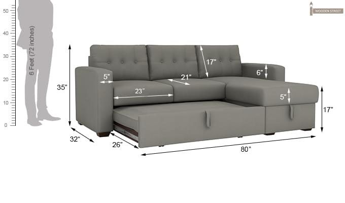 Alfonso Right Arm Convertible Sofa Cum Bed (Fabric, Grey)-14