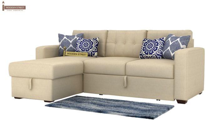 Alfonso Left Arm Convertible Sofa Cum Bed (Fabric, Cream)-2