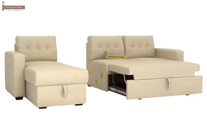 Alfonso Left Arm Convertible Sofa Cum Bed (Fabric, Cream)-11