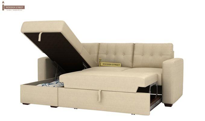 Alfonso Left Arm Convertible Sofa Cum Bed (Fabric, Cream)-12