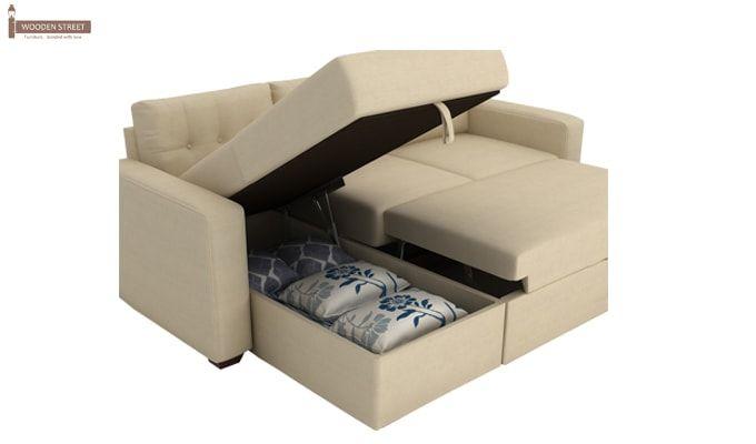 Alfonso Left Arm Convertible Sofa Cum Bed (Fabric, Cream)-13