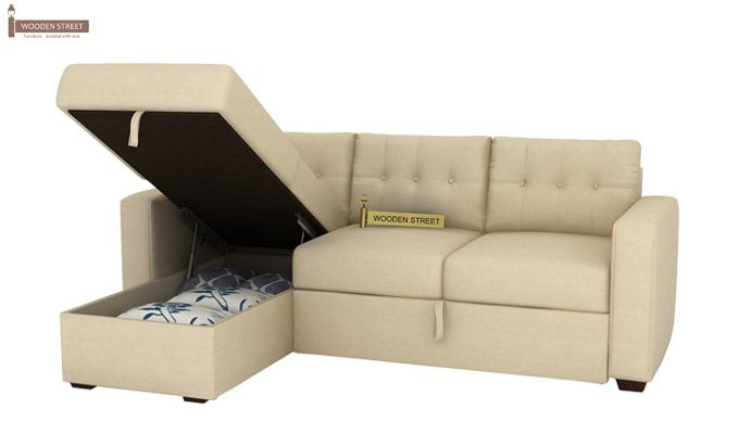 Alfonso Left Arm Convertible Sofa Cum Bed (Fabric, Cream)-14