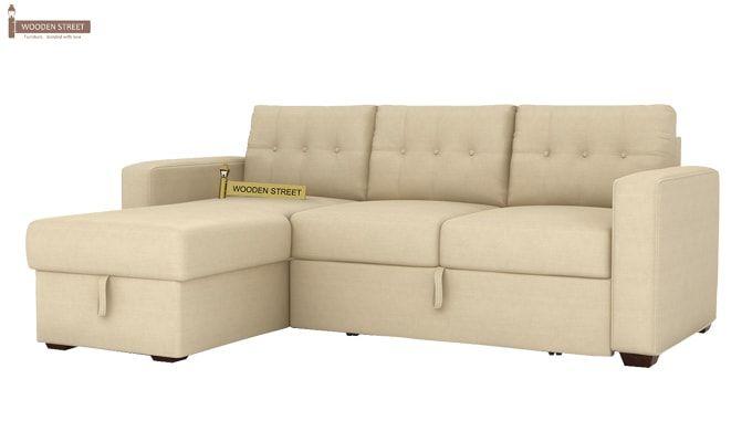 Alfonso Left Arm Convertible Sofa Cum Bed (Fabric, Cream)-3