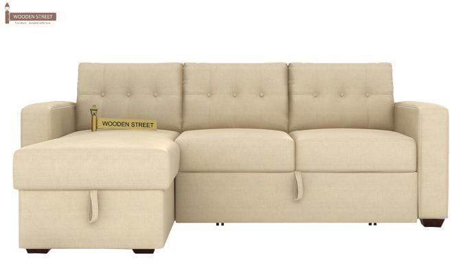 Alfonso Left Arm Convertible Sofa Cum Bed (Fabric, Cream)-4