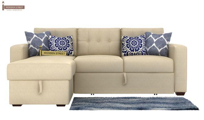 Alfonso Left Arm Convertible Sofa Cum Bed (Fabric, Cream)-5