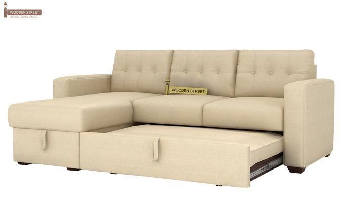 Alfonso Left Arm Convertible Sofa Cum Bed (Fabric, Cream)-6