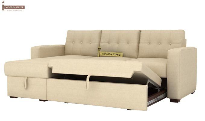 Alfonso Left Arm Convertible Sofa Cum Bed (Fabric, Cream)-7